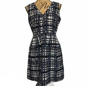 Madewell Black Gray Plaid A Line Sleeveless Dress